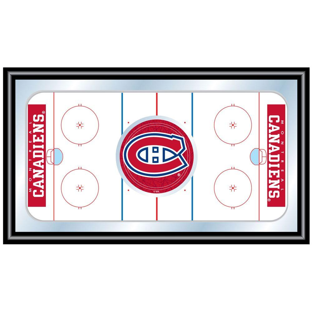 null NHL Montreal Canadians 15 in. x 26 in. Black Wood Framed Mirror