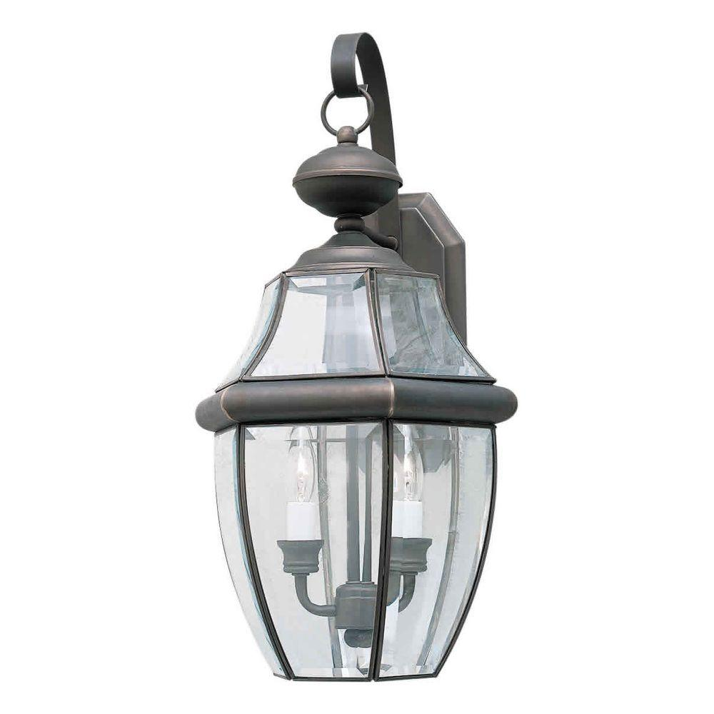 Talista 2-Light Outdoor Royal Bronze Wall Lantern with Clear Beveled Glass