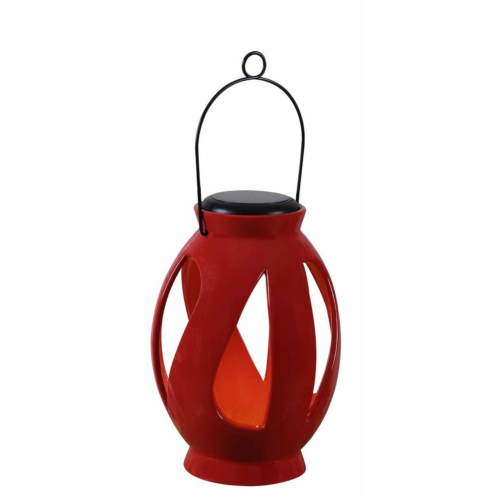Kenroy Home Leaves 10 in. LED Solar Lantern-60525RED - The Home