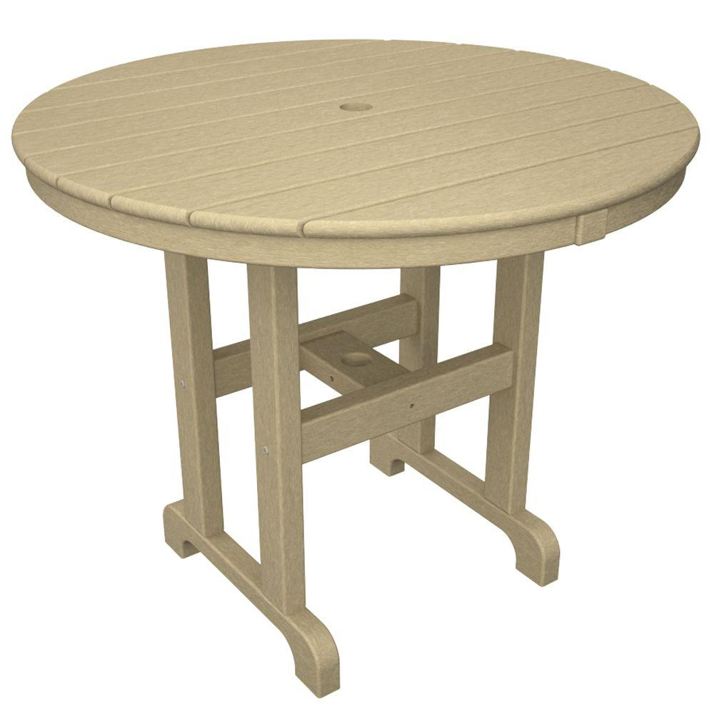 Trex Outdoor Furniture Monterey Bay 36 in. Sand Castle Round Patio Dining Table