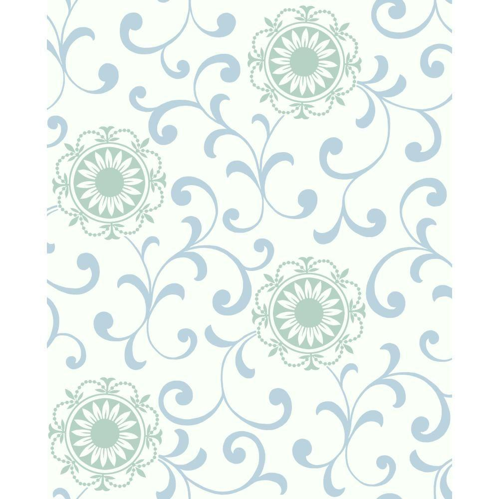 York Wallcoverings 56 sq. ft. Medallion with Scroll Wallpaper