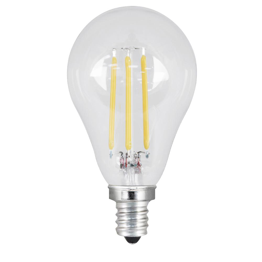 40W Equivalent Soft White A15 Dimmable Clear Filament LED Candelabra Base