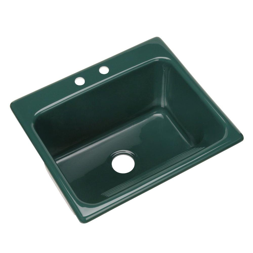 Thermocast Kensington Drop-In Acrylic 25 in. 2-Hole Single Bowl Utility Sink
