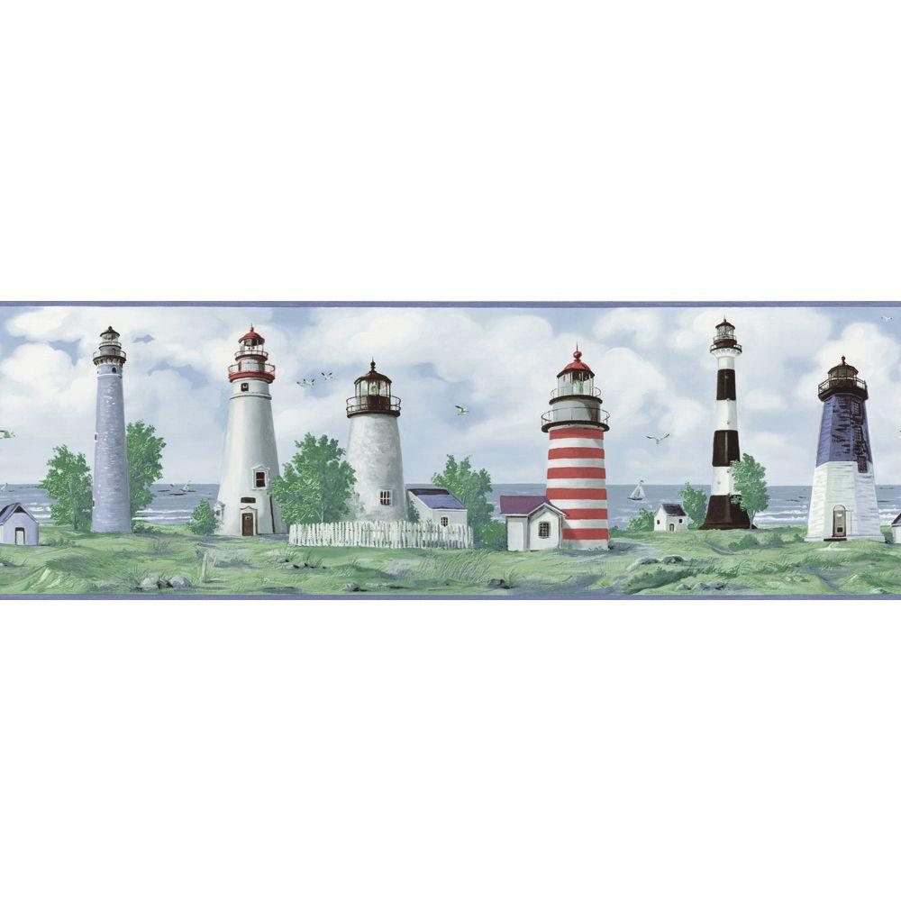 The Wallpaper Company 8 in. x 10 in. Blue Lighthouse Border Sample