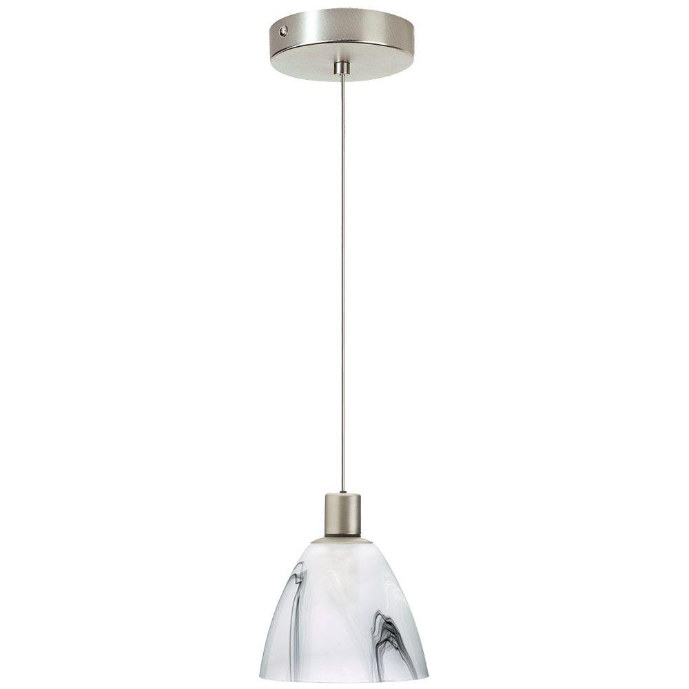 Radionic Hi Tech Industrial Chic 1-Light Satin Chrome Pendant with White Black Marble Glass
