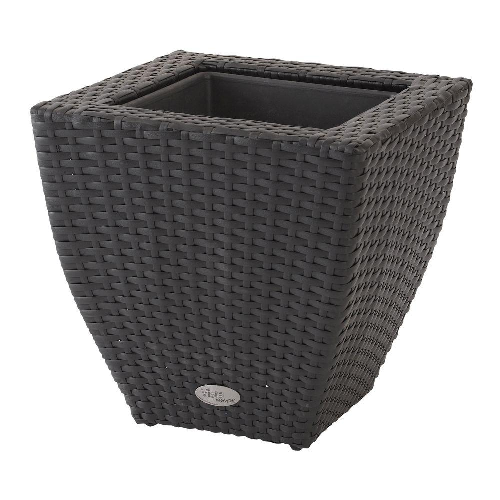 DMC Vista 22 in. Square Resin Wicker Planter with Curve