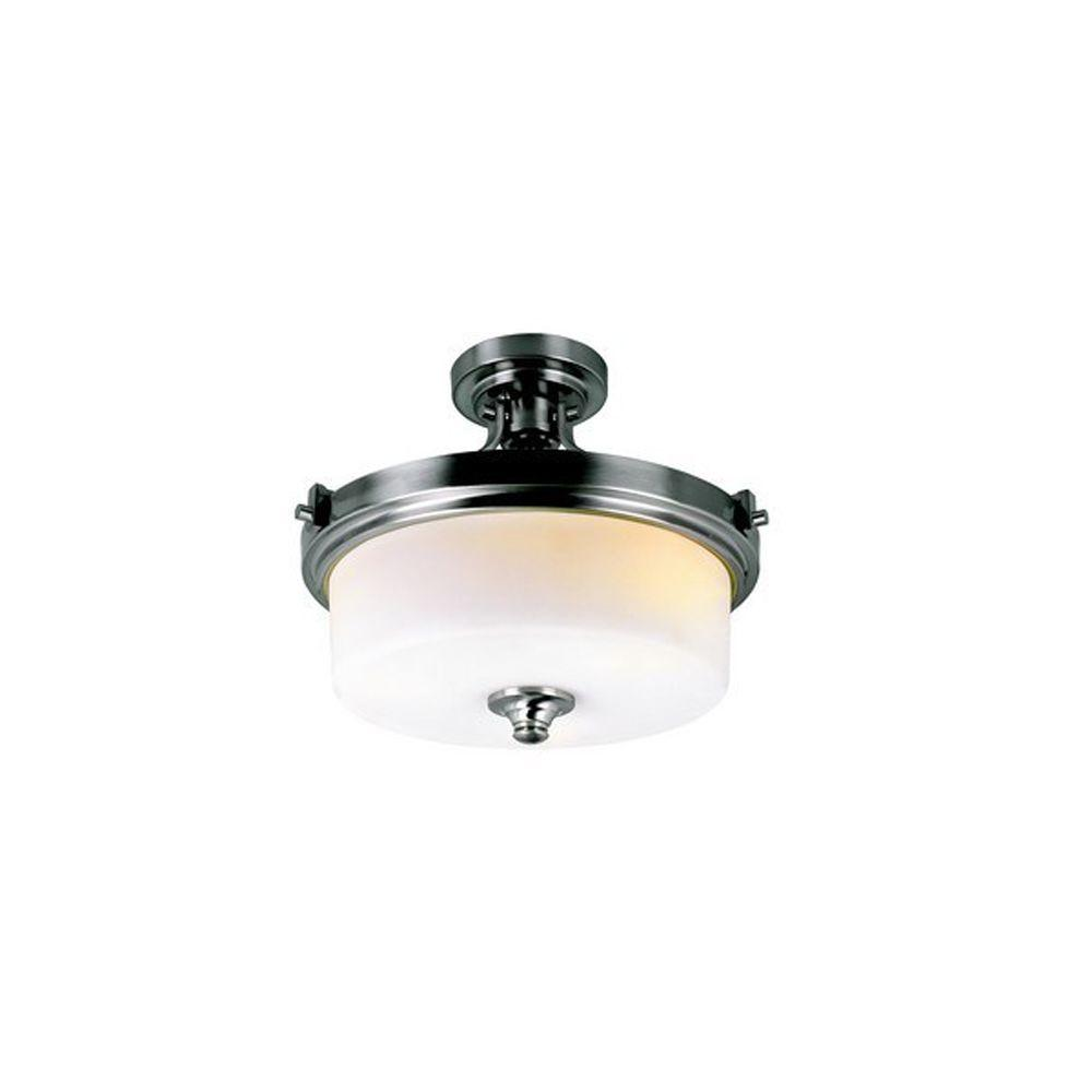 Cabernet Collection 3-Light Brushed Nickel Semi-Flush Mount Light with White