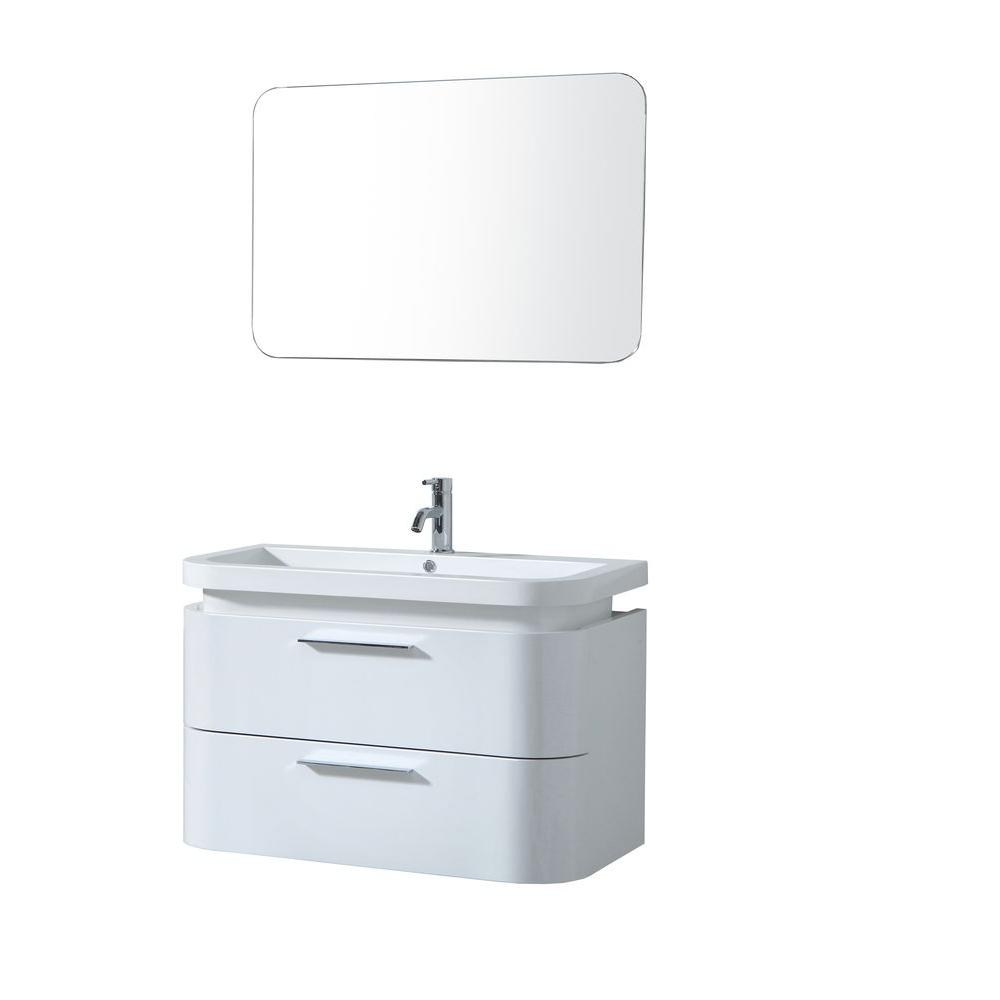 Virtu USA Zenobia 35-1/5 in. Single Basin Vanity in Gloss White with Polymarble Vanity Top in White and Mirror