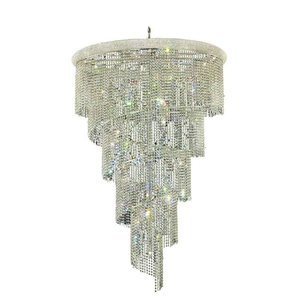 Elegant Lighting 29-Light Chrome Clear Crystal Chandeliers