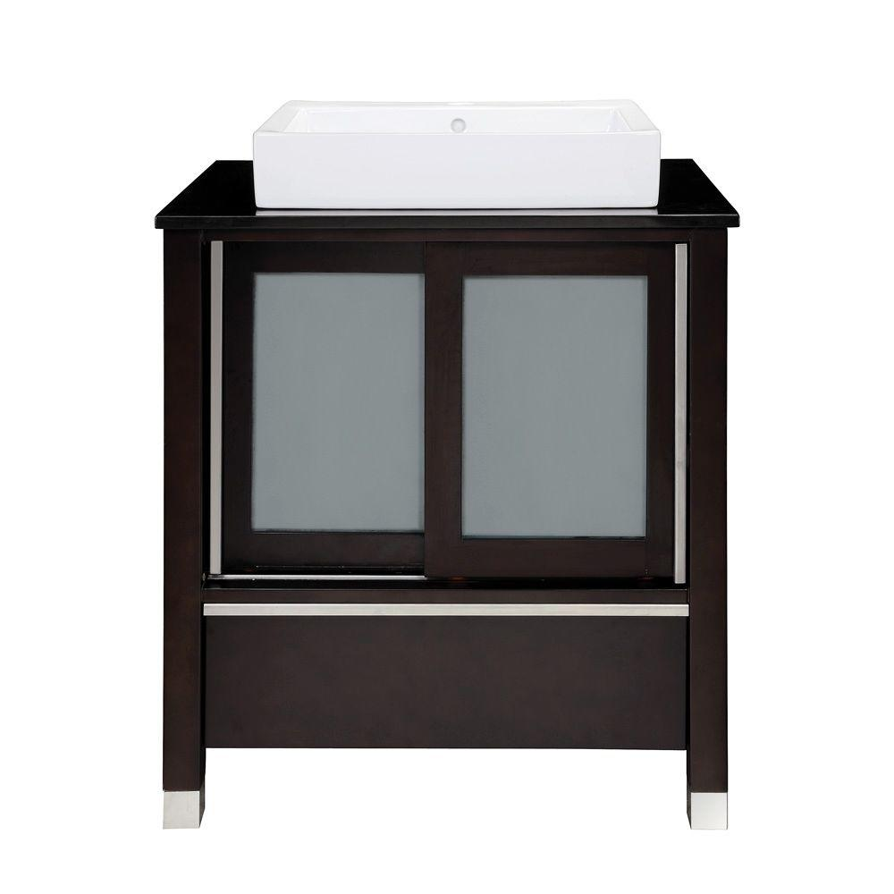 DECOLAV Tyson 31 in. W x 22 in. D x 32 in. H Vanity in Espresso with Granite Vanity Top in Black and Lavatory in White