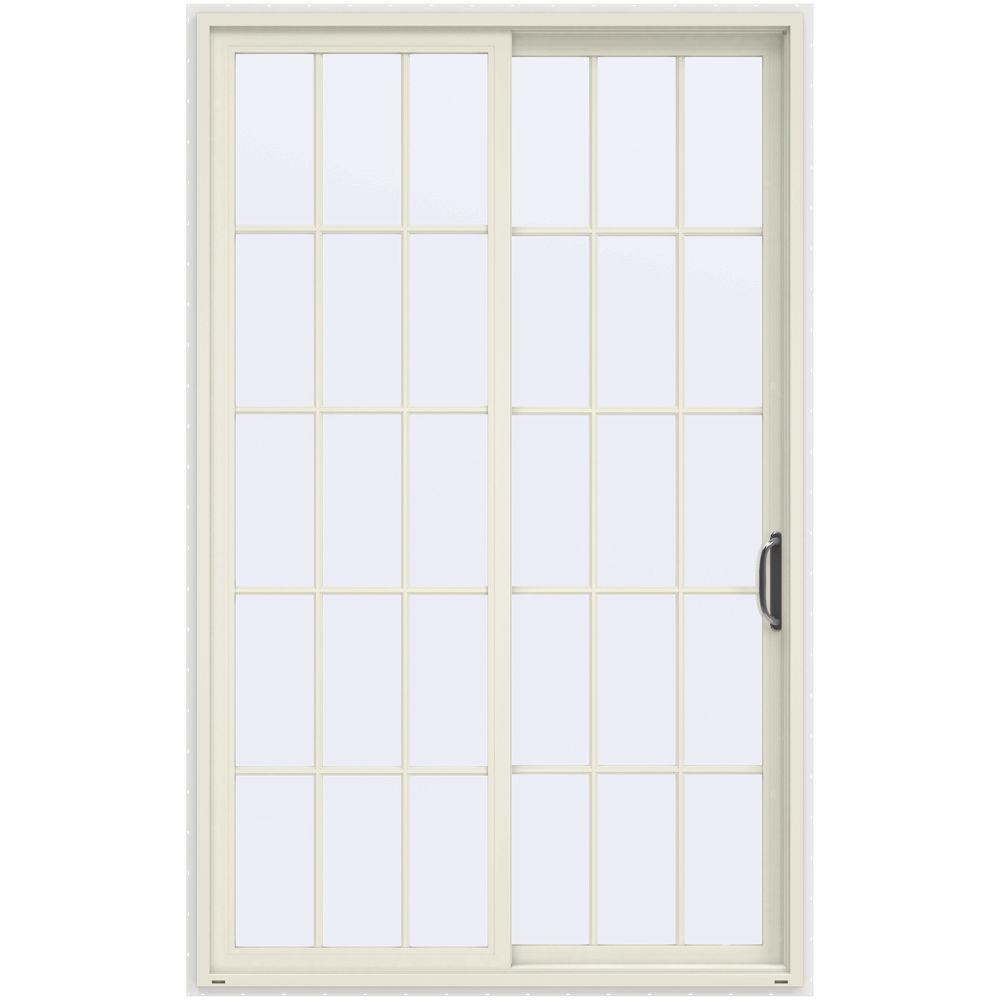 JELD-WEN 60 in. x 96 in. V-4500 French Vanilla Prehung Right-Hand Sliding 15 Lite Vinyl Patio Door with White Interior