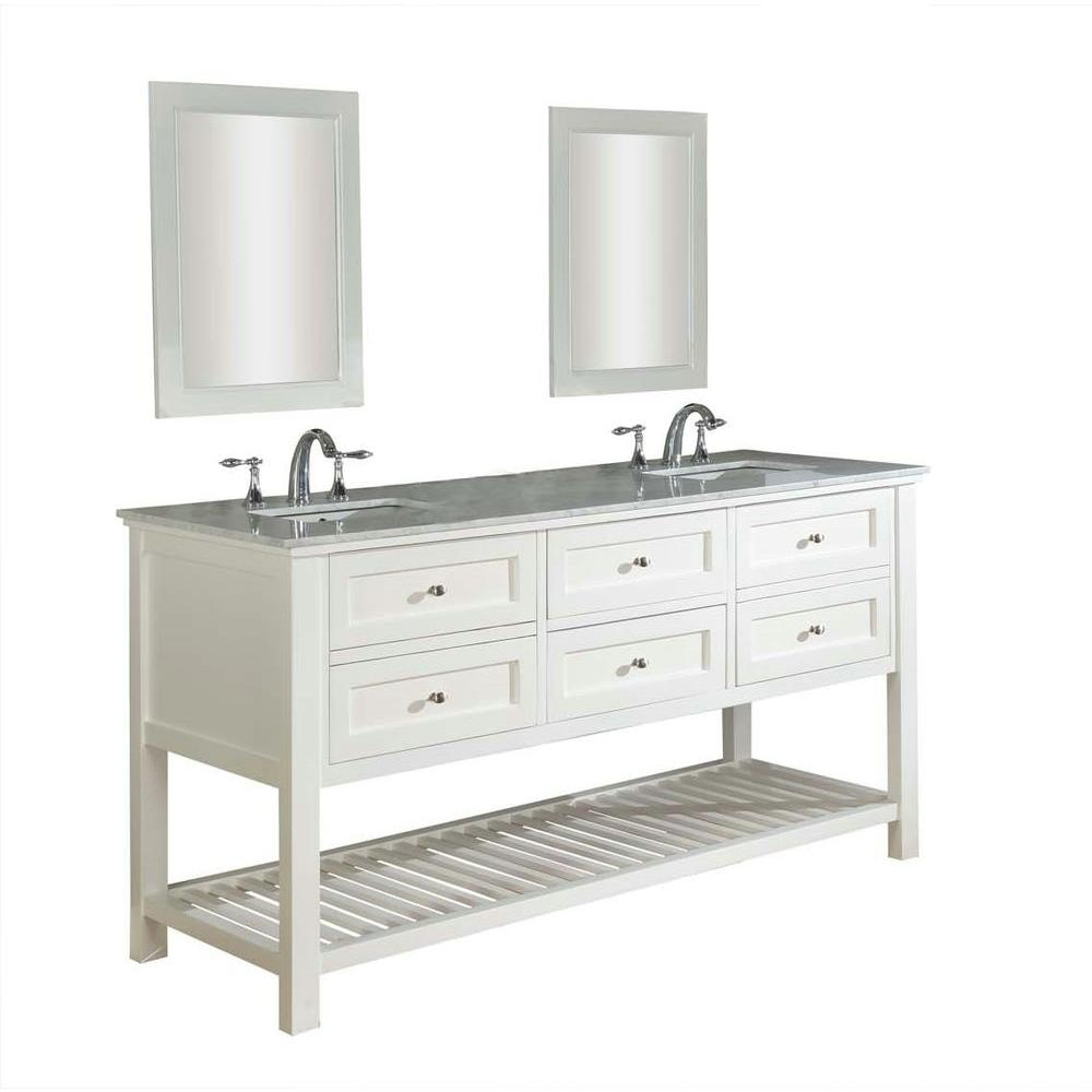 Mission Spa 70 in. Double Vanity in Pearl White with Marble