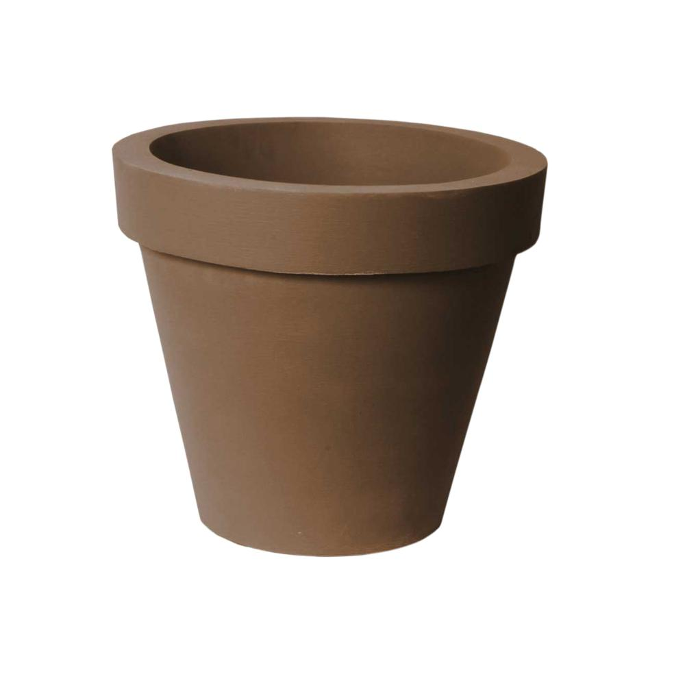 Classico 16 in. D x 14 in. Self-Watering BrownStone Plastic Planter