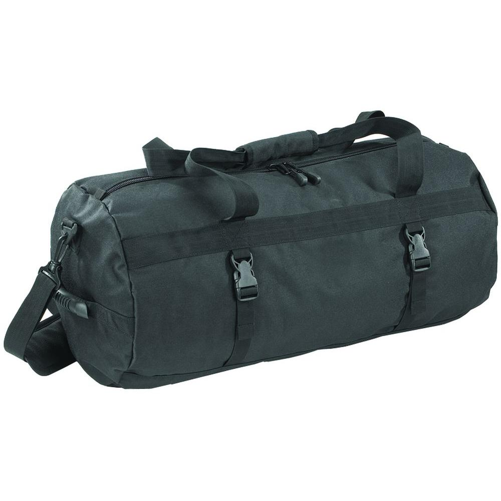 null Rolling Denier Duffle Black Bag with Self-Repairing Zipper