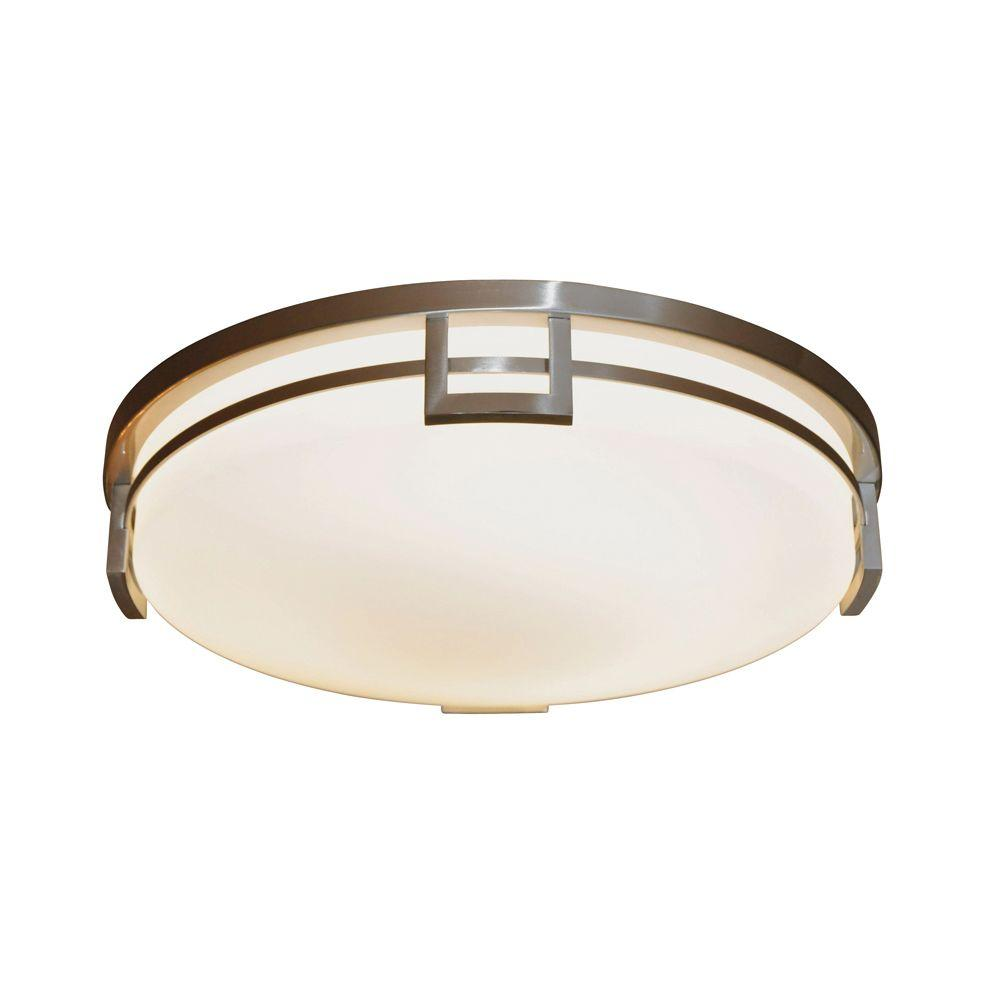 Cordelia Lighting Sterlington Collection 2 Light Flush Ceiling Brushed Nickel Fluorescent Fixture-DISCONTINUED