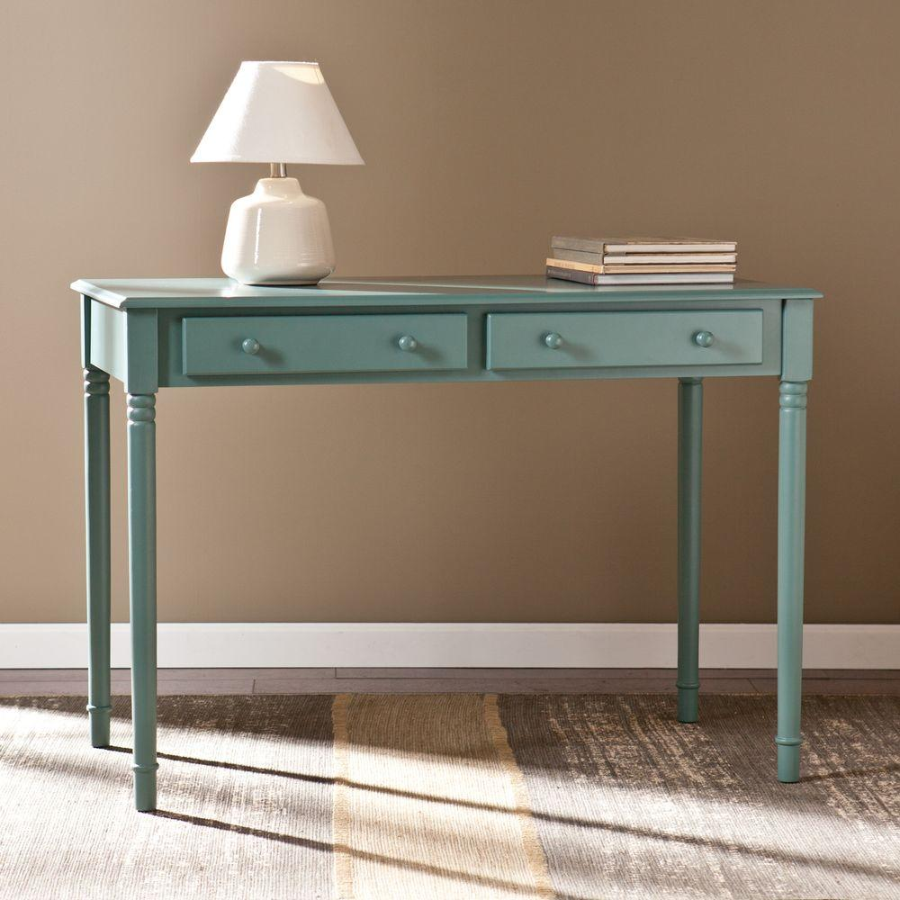 Southern Enterprises Orla 2-Drawer Writing Desk in Agate Green-HD865706 - The