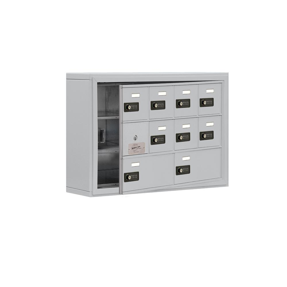 19100 Series 30.5 in. W x 20 in. H x 6.25 in. D 9 Doors Cell Phone Locker S-Mount Resettable Locks in Aluminum (Silver)