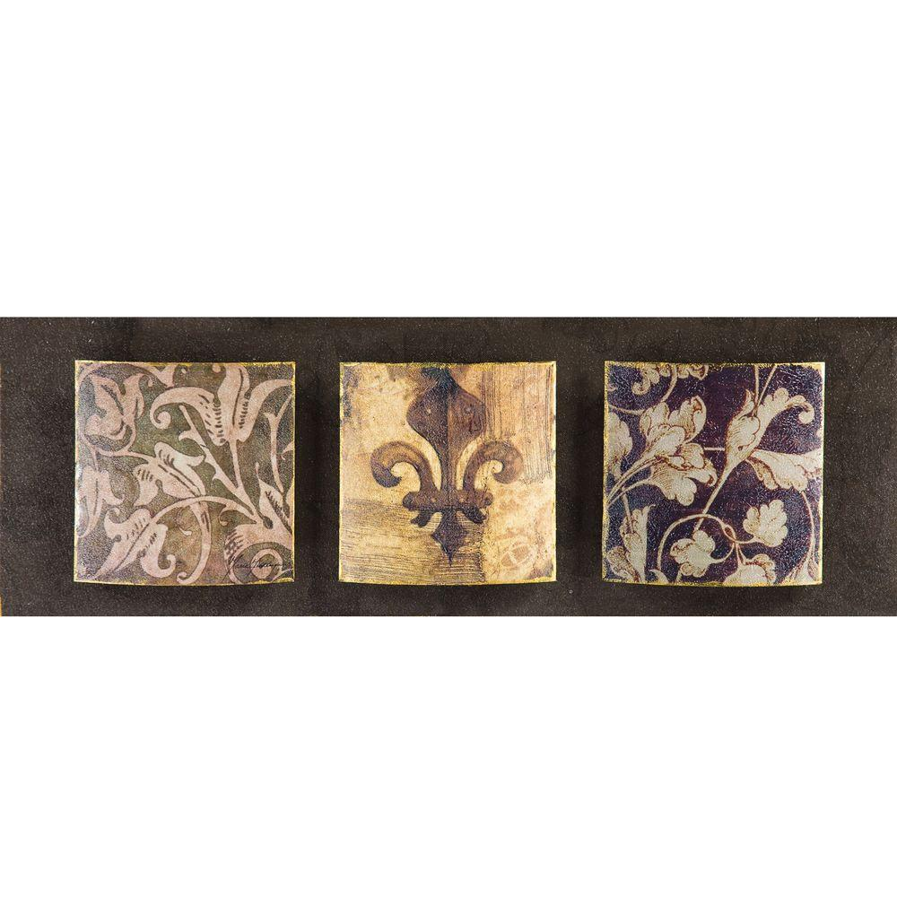 Yosemite Home Decor 24 in. x 10 in. Fleur-de-lis Hand Painted Contemporary Artwork