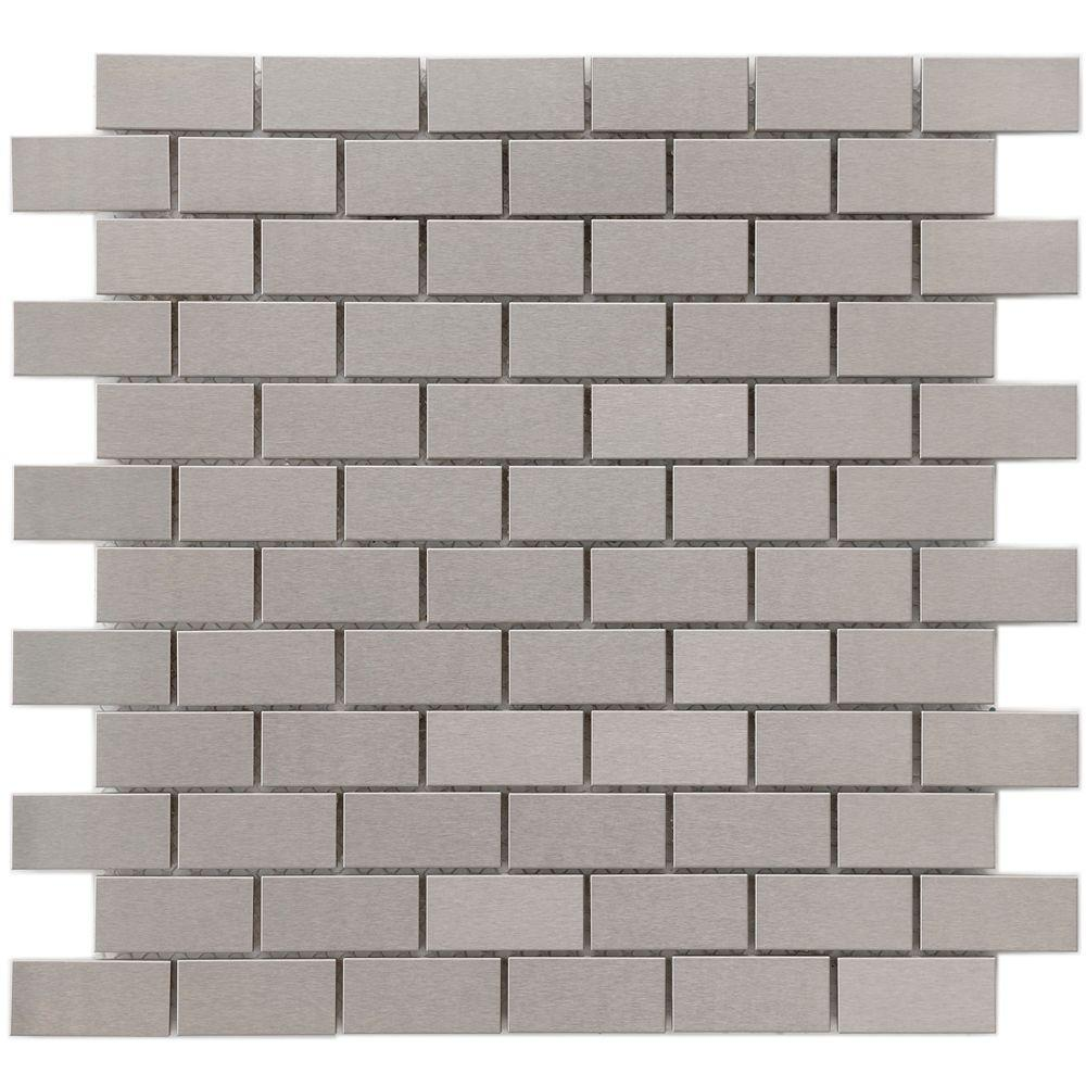 Merola Tile Alloy Subway 11-3/4 in. x 11-3/4 in. x 8 mm Stainless Steel Over Porcelain Mosaic Wall Tile