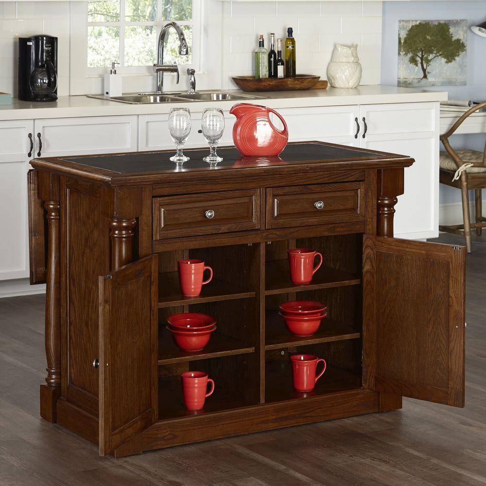 48 in. W Wood Kitchen Island in Oak with Granite Top