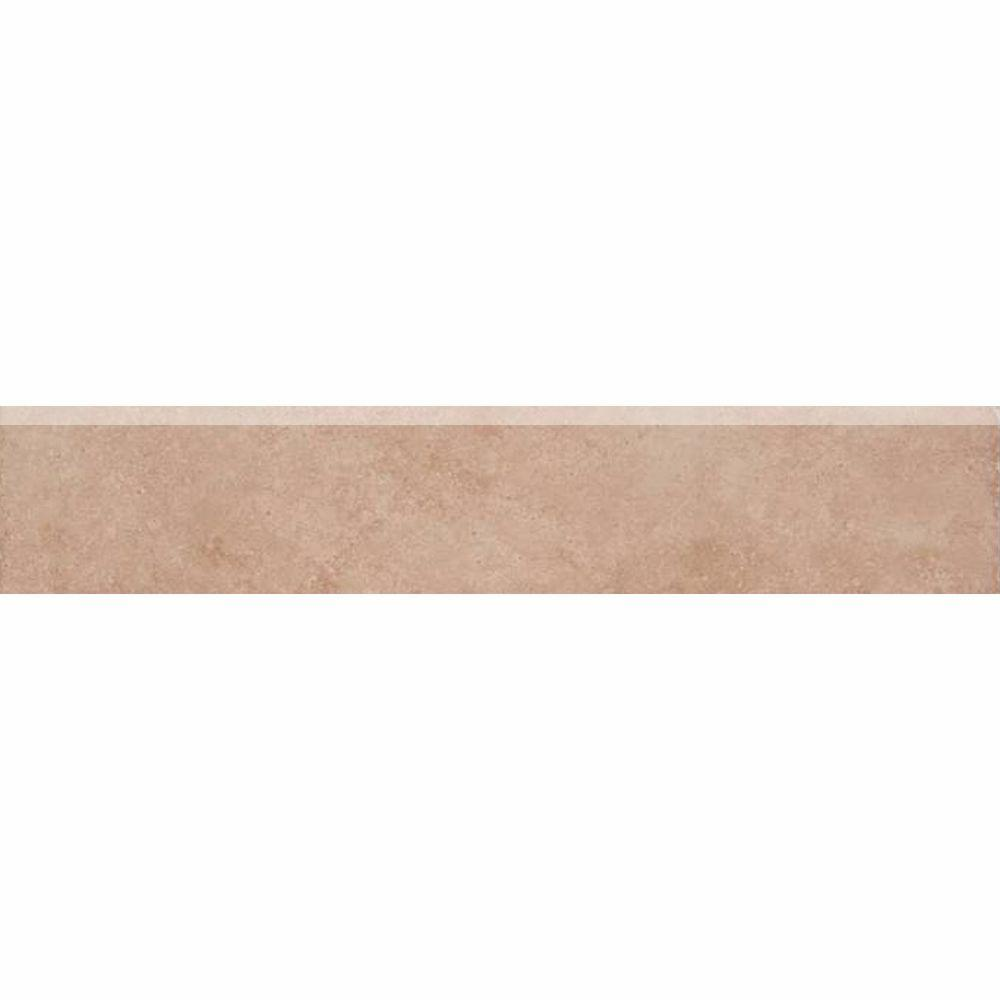 TrafficMASTER Island Sand 3 in. x 16 in. Glazed Ceramic Bullnose Floor and Wall Tile