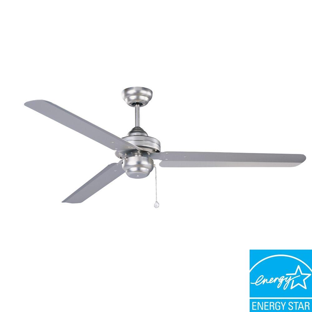 Designers Choice Collection Studio-54 54 in. Brushed Steel Ceiling Fan