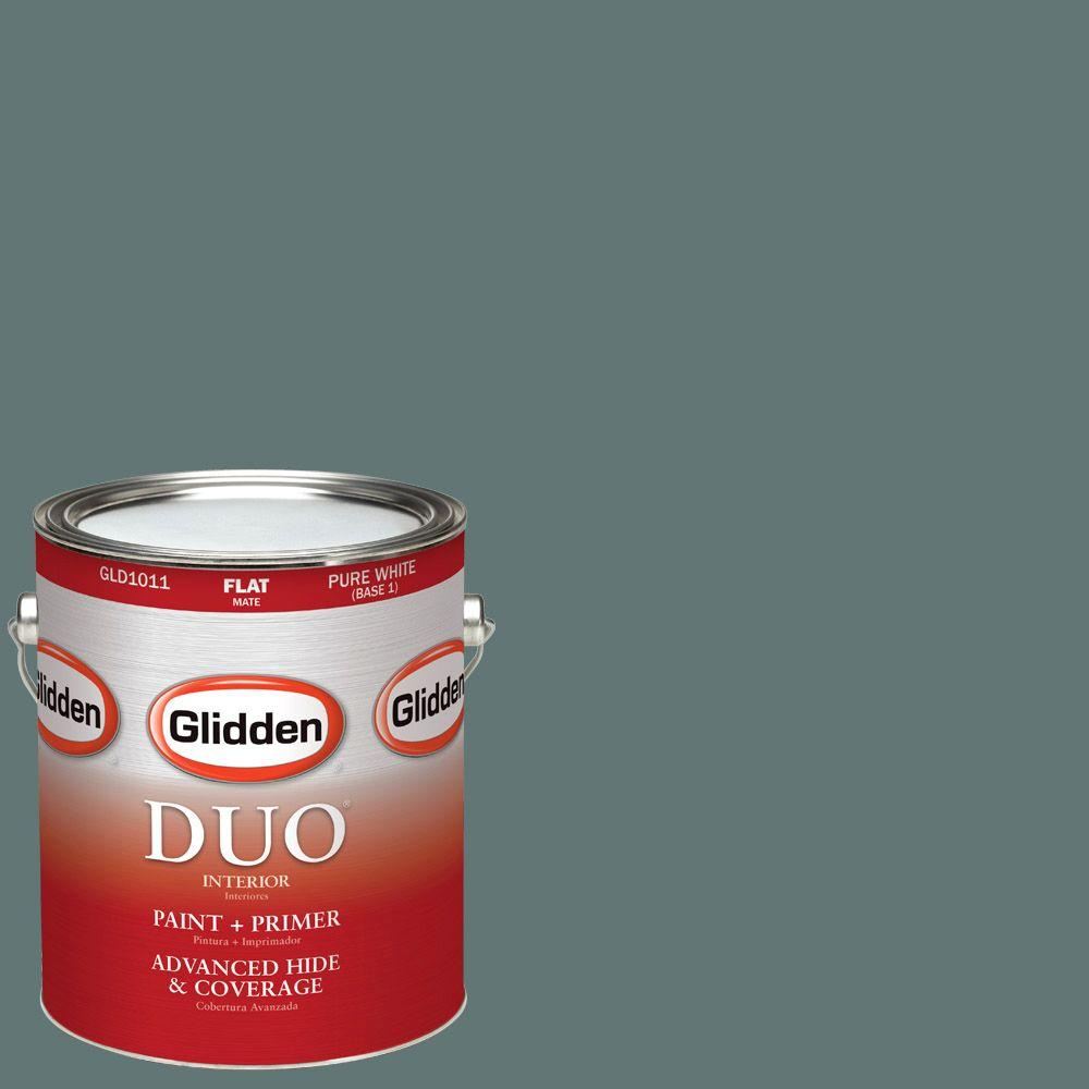Glidden DUO 1-gal. #HDGCN21D Dark Teal Woods Flat Latex Interior Paint with Primer