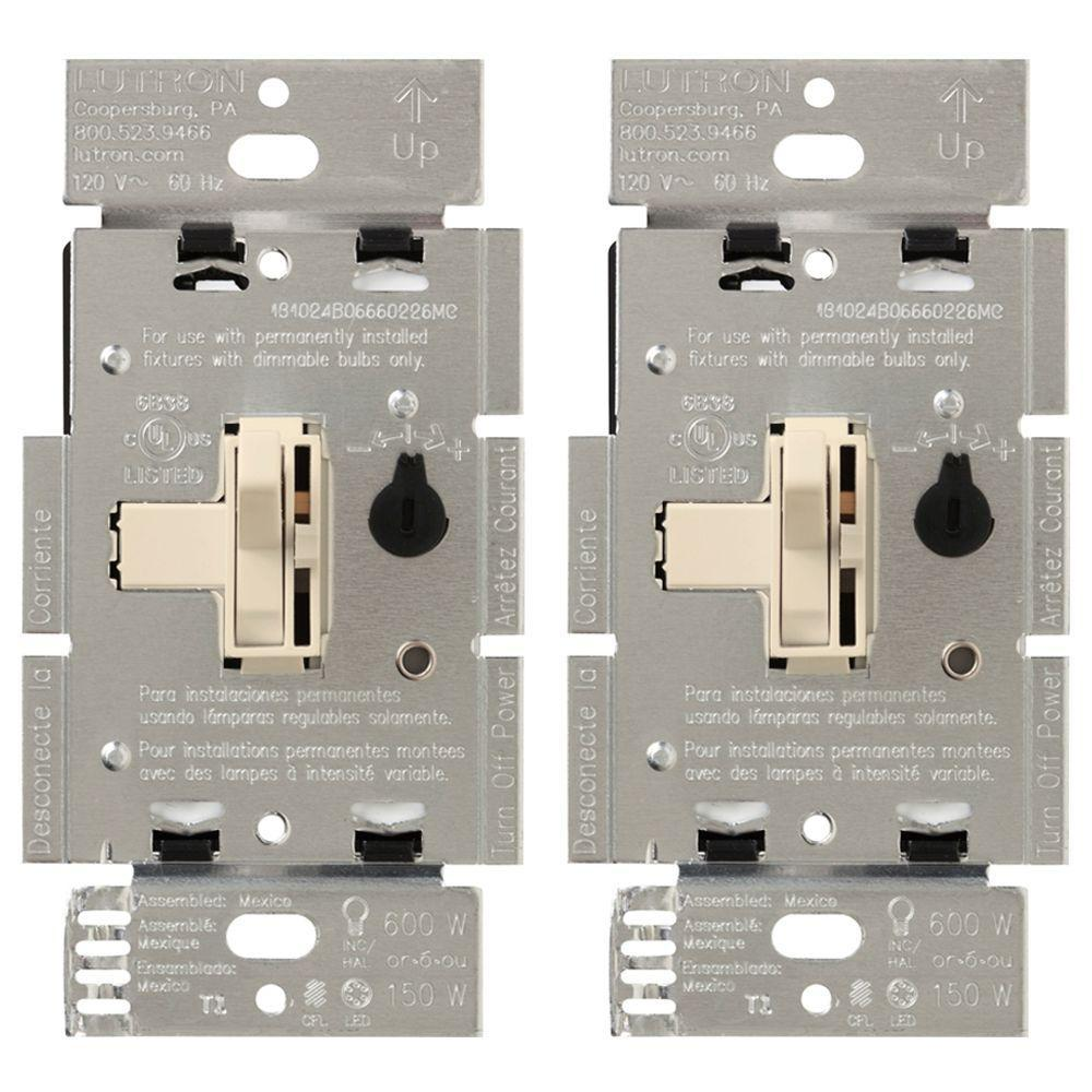 Toggler 150-Watt Single-Pole/3-Way CFL-LED Dimmer - Light Almond (2-Pack)
