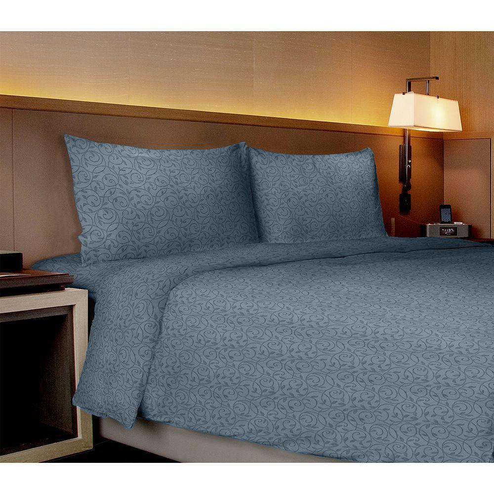 Home Dynamix Willow Collection Vines Medium Blue Full Sheet Set (4-Piece)