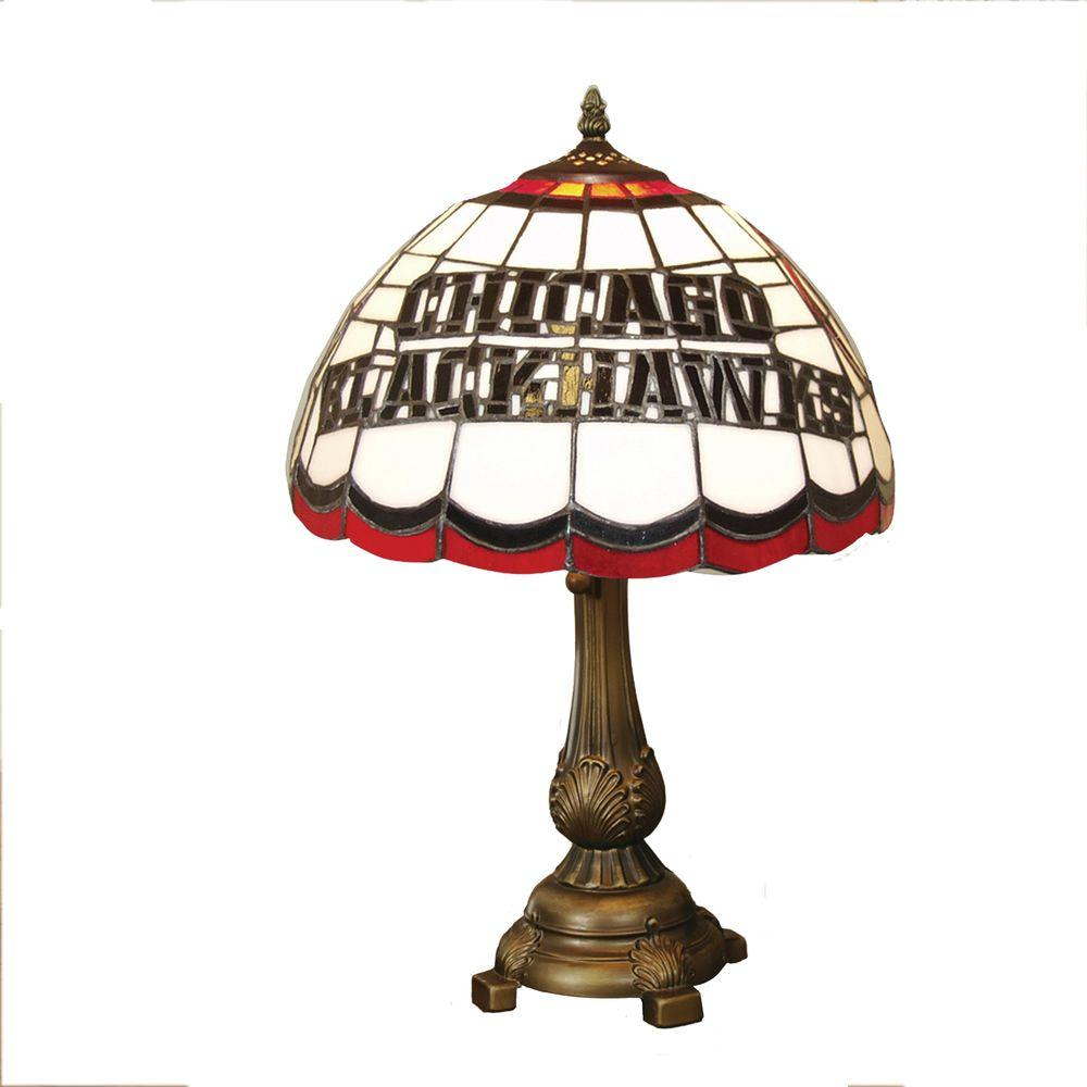 The Memory Company NHL 19.5 in. Stained Glass Tiffany Table Lamp - Chicago Blackhawks-DISCONTINUED