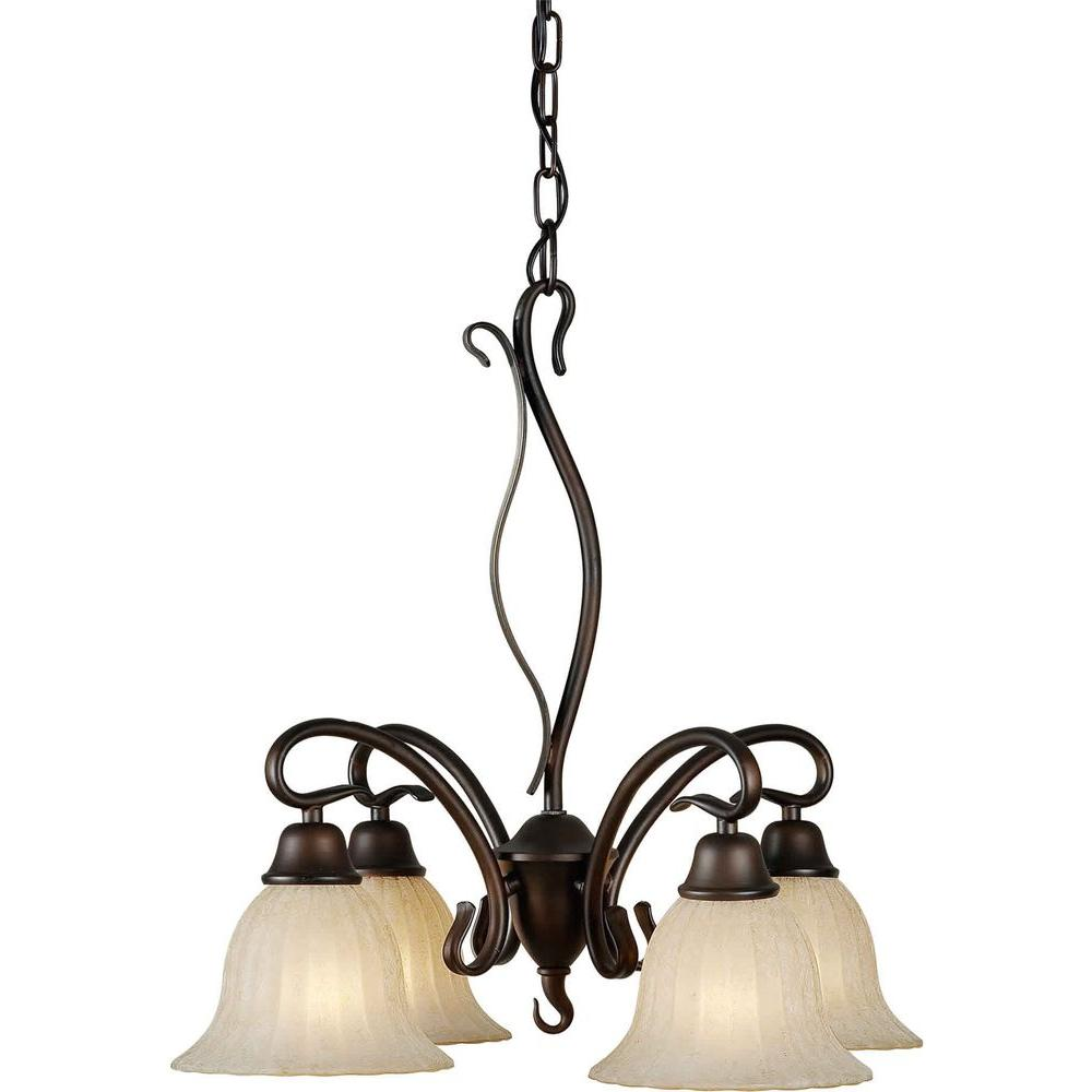 Illumine 4 Light Chandelier Antique Bronze Finish Mica Flake Glass-DISCONTINUED