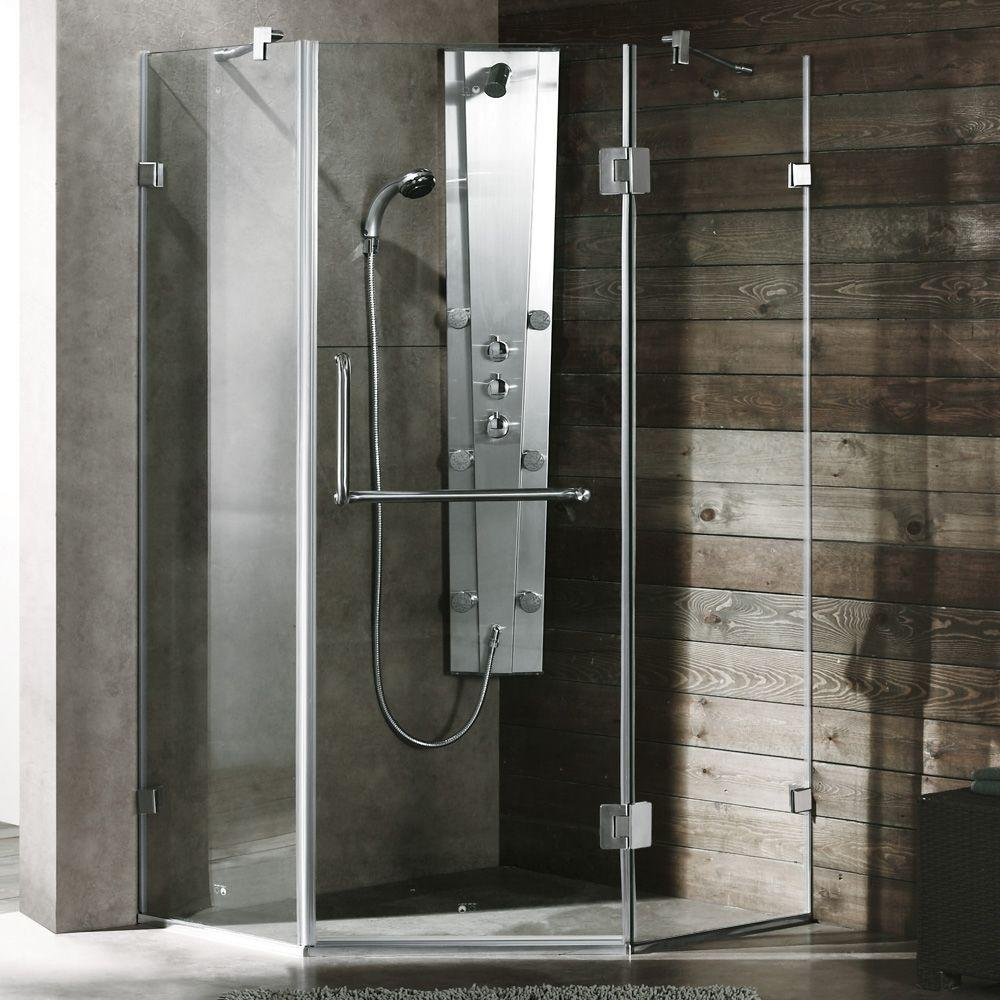 Piedmont 36.125 in. x 73.375 in. Semi-Framed Neo-Angle Shower Enclosure in Brushed Nickel with Clear Glass