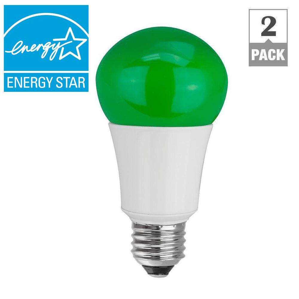 TCP 40W Equivalent A15 Household LED Light Bulbs, Green (2-Pack)