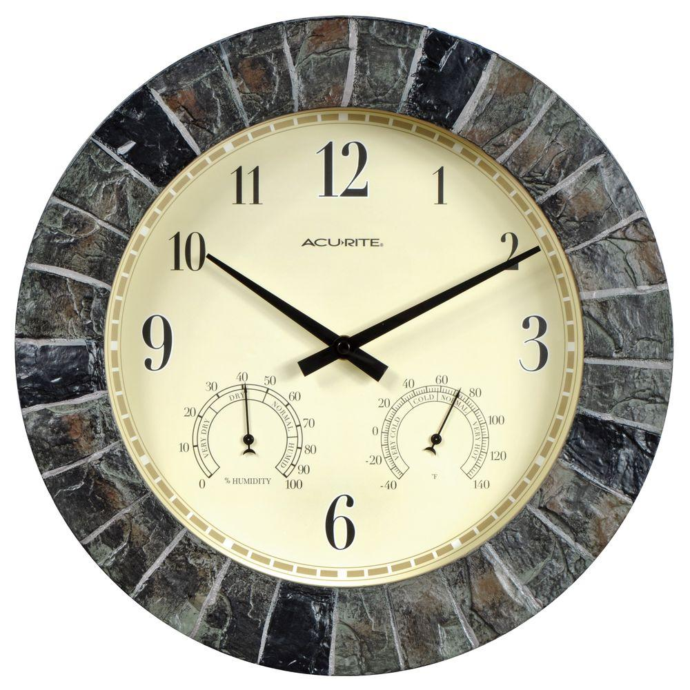 AcuRite 14 in. Faux Slate Plastic Resin Analog Wall Clock