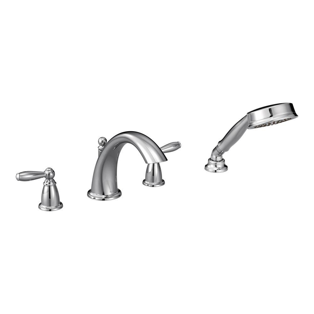 Brantford 2-Handle Deck-Mount Roman Tub Faucet Trim Kit with Hand Shower