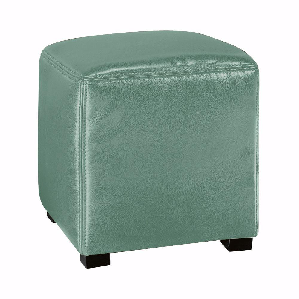 Home Decorators Collection Tracie Blue Basic Leather Ottoman