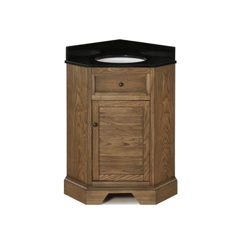 Hembry Creek Palmetto 28-7/8 in. Corner Vanity in Driftwood with Granite Vanity Top in Black with White Basin