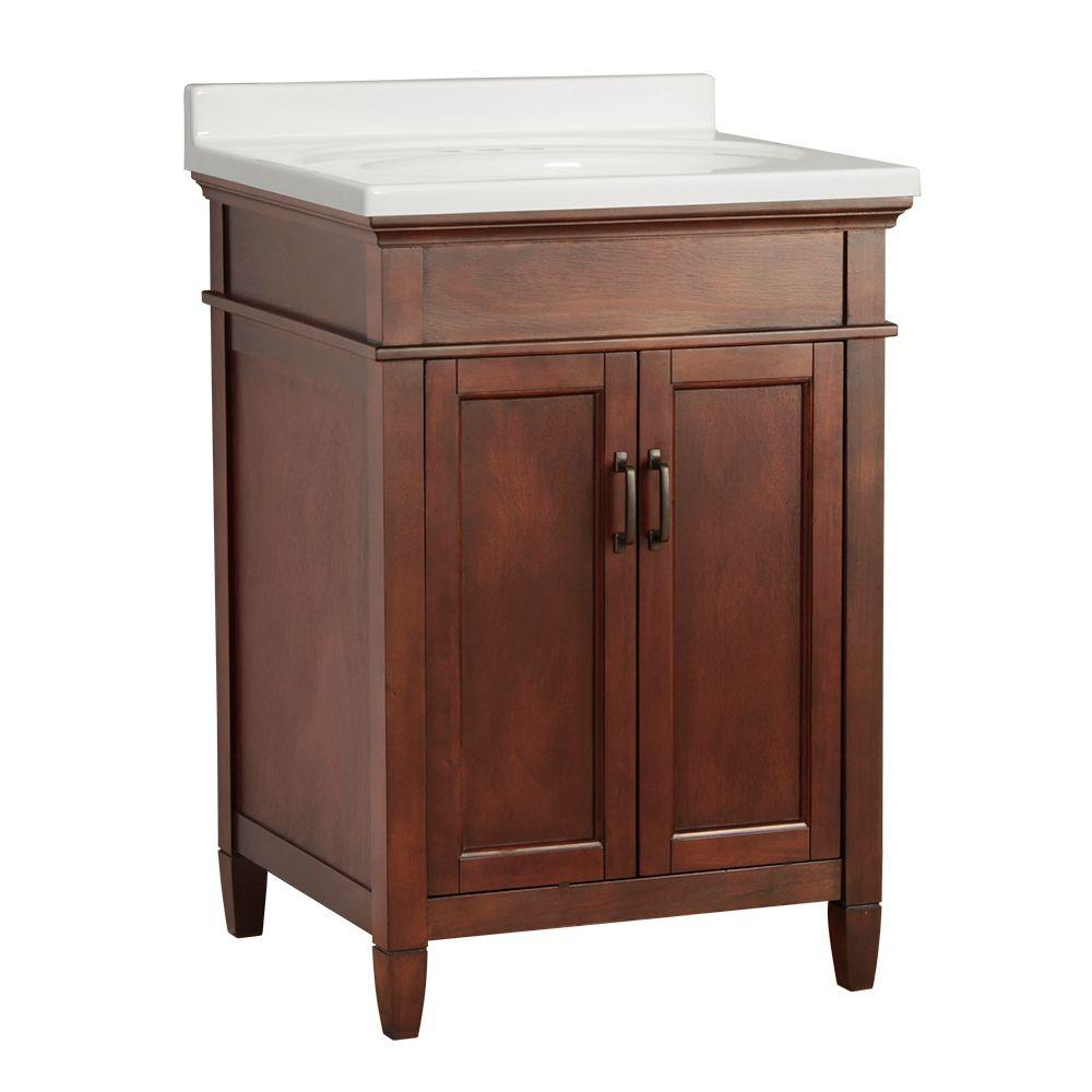 Foremost Ashburn 25 in. W x 22 in. D Vanity in Mahogany with Vanity Top in White
