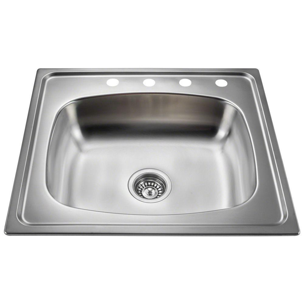 Polaris Sinks All-in-One Topmount Stainless Steel 25 in. 4-Hole Single Bowl