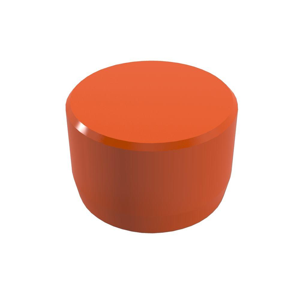1 in. Furniture Grade PVC External Flat End Cap in Orange