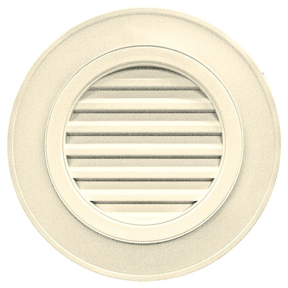 Builders Edge 28 in. Round Gable Vent in Cream (without Keystones)