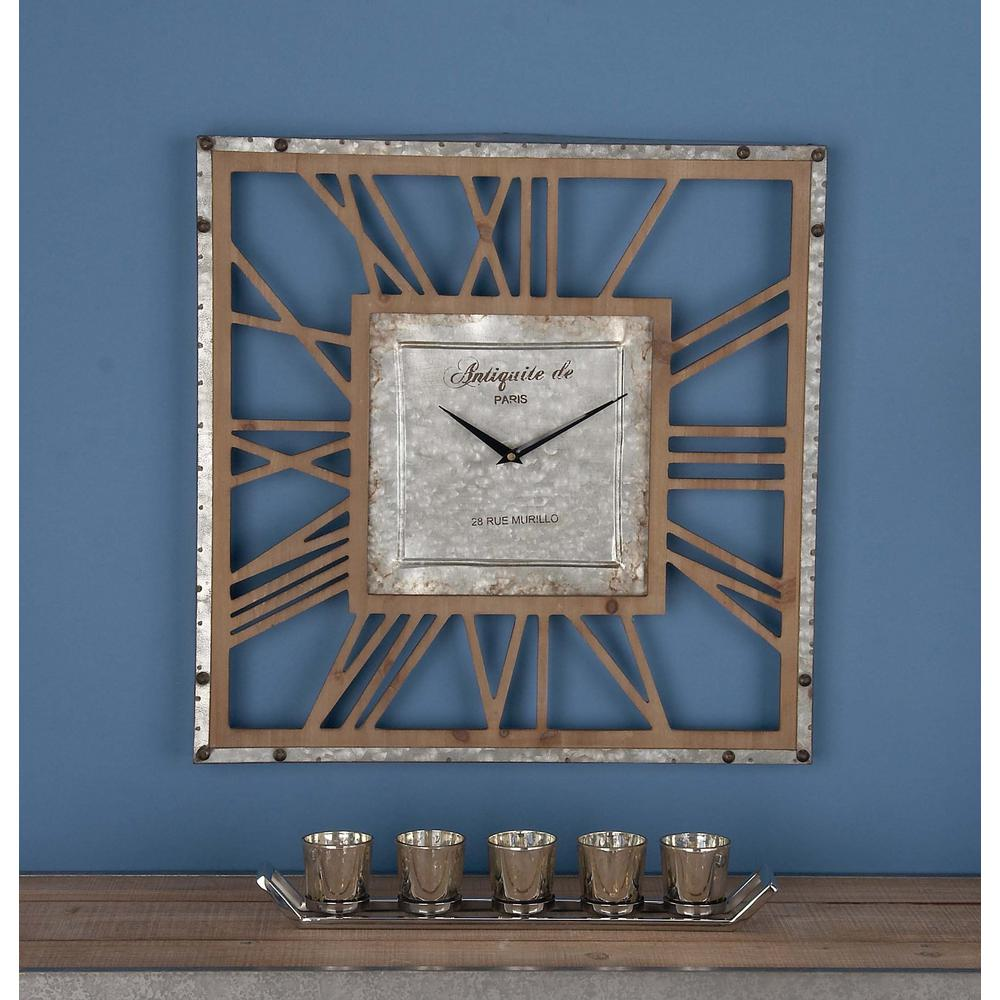 22 in. x 22 in. Rustic Square Wood and Iron Wall