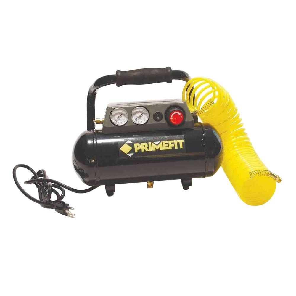 Primefit 125 PSI 1 gal. Portable Air Compressor with Regulator and Control Panel 25 ft. Air Hose