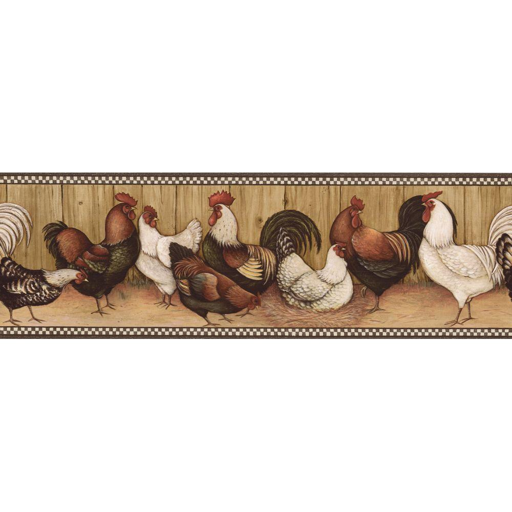 The Wallpaper Company 6.75 in. x 15 ft. Black and Brown Rooster Border
