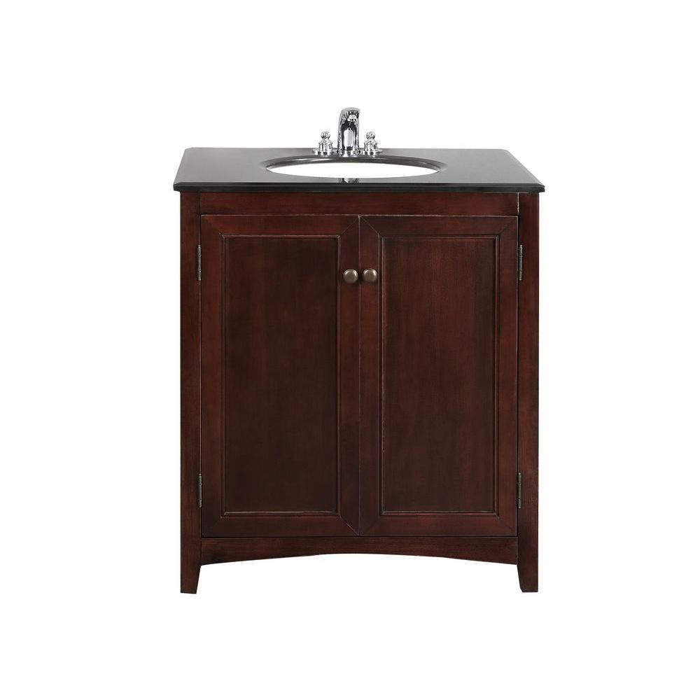 Simpli Home Yorkville 30 in. Vanity in Walnut Brown with Granite Vanity Top in Black and Undermounted Oval Sink