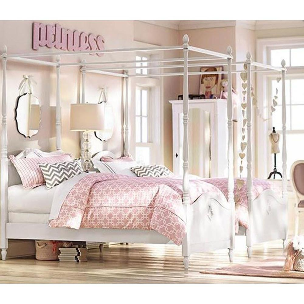 Home Decorators Collection Carmela Kids Gustaviano Wash Full Size Canopy Bed