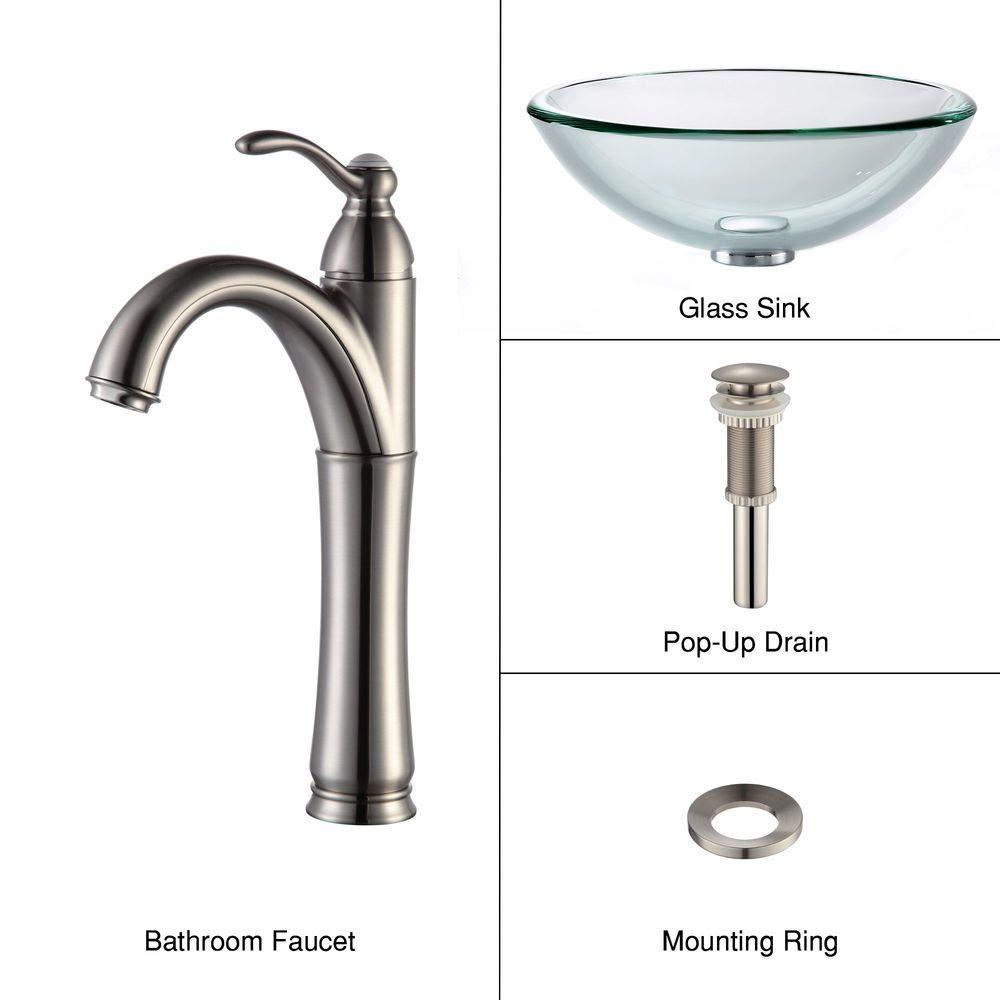 KRAUS 19 mm Thick Glass Vessel Sink with Single Hole Single-Handle High-Arc Riviera Faucet in Satin Nickel