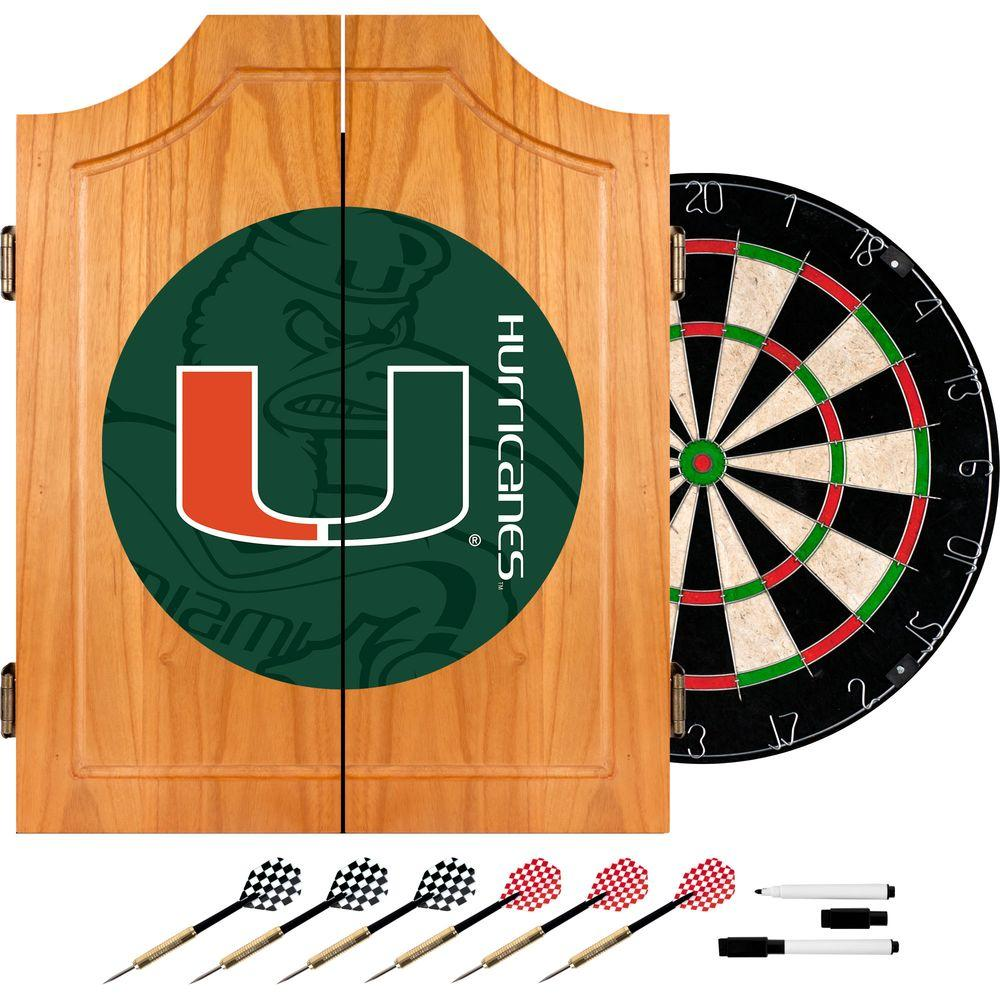 University of Miami Fade 20.5 in. Wood Dart Cabinet Set