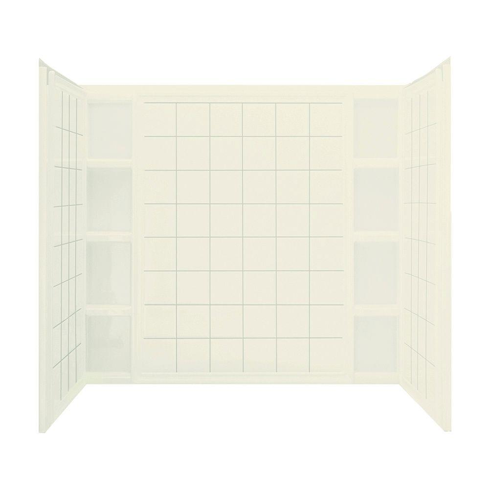 STERLING Ensemble Tile 37-1/2 in. x 60 in. x 54-1/4 in. 3-piece Direct-to-Stud Tub Wall Set in Biscuit