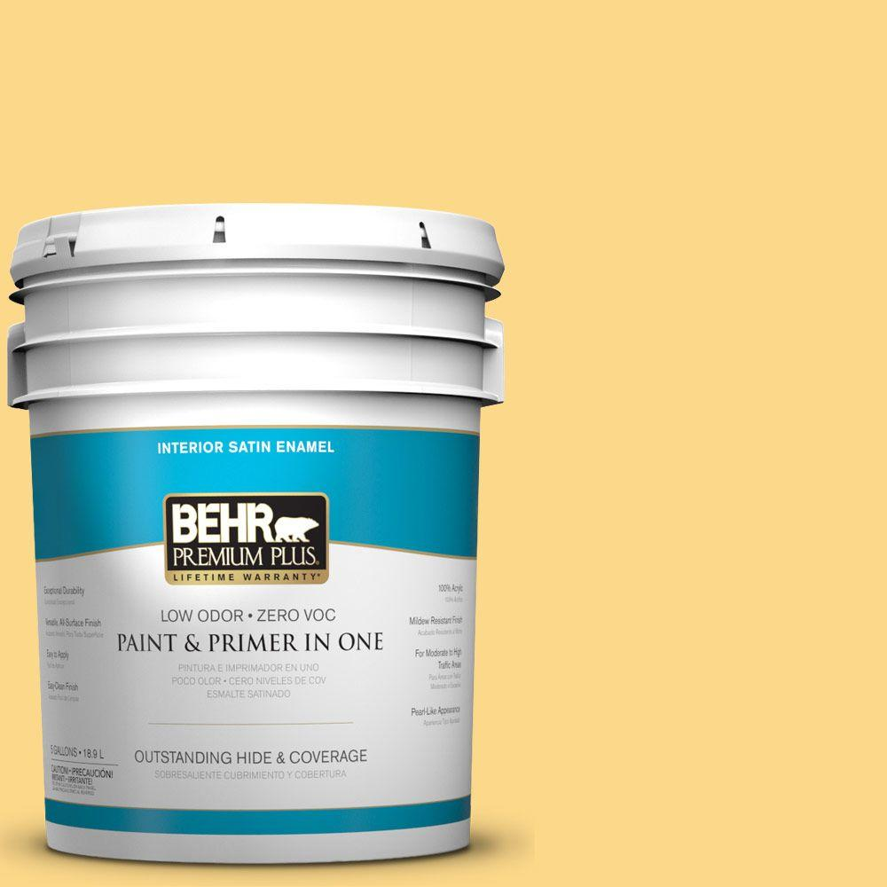 BEHR Premium Plus 5-gal. #P280-4 Surfboard Yellow Satin Enamel Interior Paint